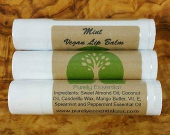 Mint Lip Balm, Vegan Lip Balm, Organic Lip Balm, All Natural Lip Balm, Vegan Beauty, Vegan Skincare, Cruelty Free, Gluten Free