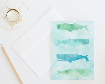 Watercolor Whales | Illustrated Nautical Everyday Greeting Card, Ocean Inspired With Sea Animals, Just Because Card, Beach Art