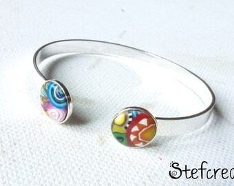"""Bracelet métal argenté 2 cabochons polymère """"multicolore"""""""