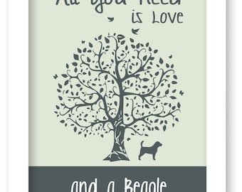 Beagle Art Print, All You Need Is Love And A Beagle, Tree, Modern Wall Decor, Beagle Lovers Gift