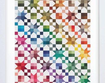 Rainbow Quilt Counted Cross Stitch Pattern