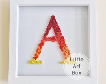 SALE**  Personalised handmade framed paper quilled letter A