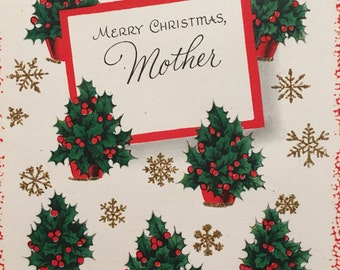 Vintage Christmas Card Glitter Mother 1950s Unused NOS