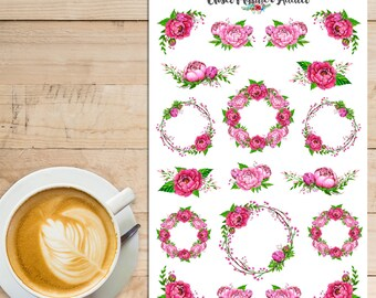 Pink Peonies Planner Stickers   Watercolour Stickers   Peony Stickers   Floral Stickers   Watercolour Flowers   Wreath Stickers (S-274)
