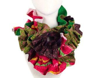 Patchwork Boho Scarf, Nuno Felted Wool Silk Ruffle Scarf, Handmade Bohemian Scarf, Colorful Scarf, Eco Friendly Scarf, Green Purple Pink