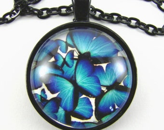 BLUE and BLACK BUTTERFLIES Necklace --  Poetry in motion, Gift for her, Nature lovers necklace, Friendship token