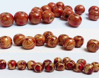 Set 9mm, pattern choice wood barrel beads