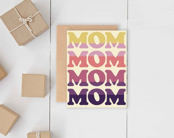 Retro Mom on Repeat Card // Quirky Throw Back Pretty Mother's Day Card // Spring May June