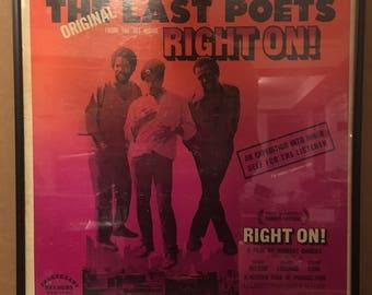 The Last Poets - Right On! (1971) Vintage Vinyl Record Framed LP Album Classic Blues Rock