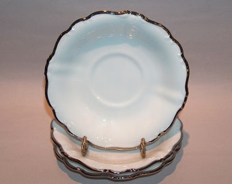 8502: Johann Haviland SET of 3 Saucer Plates White Platinum Baroque Silver Fine China Porcelain at Vintageway Furniture