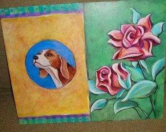 Beagle w/Roses on COPPER. Original Painting Dog Folk Art
