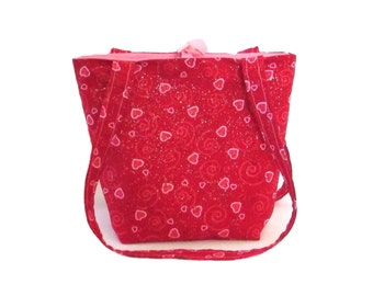 Heart Purse, Handmade Handbag, Red, Pink, Hearts, Swirls, Fabric Bag, Cloth Shoulder Bag, Small Tote Bag, Teen Purse
