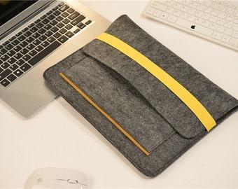 "Elastic Band Closure Felt Macbook 15"" Sleeve , Touch Bar 15"" Macbook Pro Case , Felt Macbook Pro 15 Sleeve , Felt 15 inch Laptop Bag #210"
