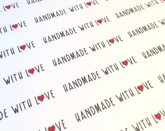 Handmade With Love Stickers, Shop Supplies, Product Stickers
