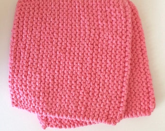 Hand Knit Cotton Pot Holders - Set of 2 Hot Pads - Pink
