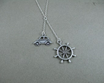 Captain Swan Lariat Necklace - Once Upon a Time - Storybrooke - Emma Swan - Captain Hook - Killian Jones - Ships Wheel - Silver Charms