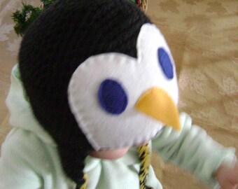 penguin earflap hat