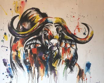 Wild peagant,African art,African painting,Acrylics on canvas painting,Hand painting.