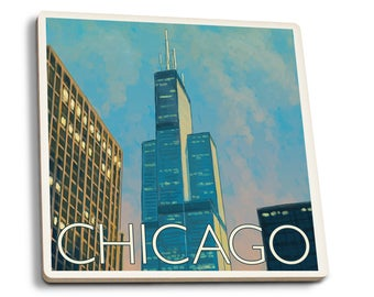 Chicago, IL - Sears Tower - LP Artwork (Set of 4 Ceramic Coasters)