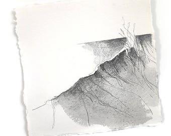 """Crashing surf - seaside waves inspired original drawing 8""""x8"""""""