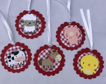Barnyard gift tags, barnyard birthday, barnyard party, farm banner,