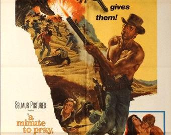 "Minute to Pray, A Second to Die. 1968 Original 27:x41"" Movie Poster. James Bama Art in Spagetti Western.Alex Cord,Arthur Kennedy,Robert Ryan"