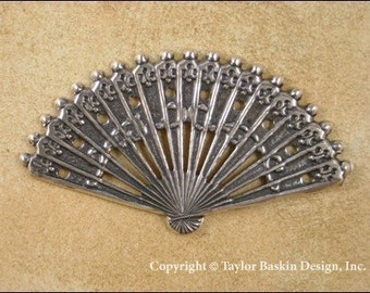 Antiqued Sterling Silver Plated Victorian Fan (item 1515 AS) - 1 Piece