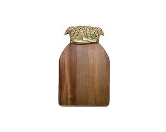 Vintage Wood Cutting Board Wheat Cutting Board Walnut Cutting Board Brass and Wood Cutting Board Rubel Cutting Board