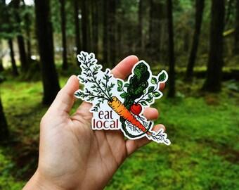 "Eat Local Garden Sticker 3"" Weatherproof and durable, Veggies, Carrots, Kale, Radish, Vegetable art, Gardening art, Organic, Local"