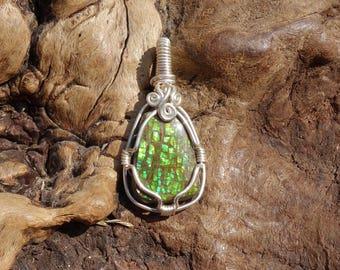 Canadian Ammolite Pendant ~ Wire Wrapped Pendant, Sterling Silver, Green Ammolite, Dragonskin Ammolite, Opalized Fossil, Ammolite Jewelry