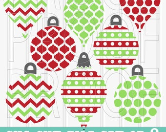 Christmas SVG Files Set of 8 cut files includes svg/png/jpg formats! Commercial use approved! ornament svg lilly ashley