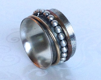 Spinner Ring W Copper Gold And Silver Bead Spinners
