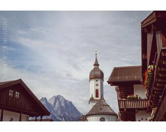 Landscape Photography, 8x12 Print, Architecture Photography, Bavarian Decor, Travel Photograph, Dreamy Photography, Germany Photograph