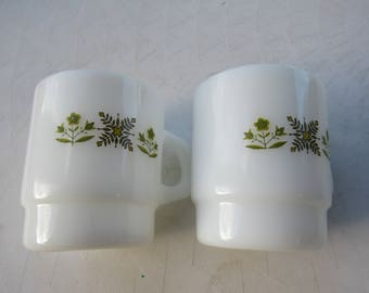 Anchor Hocking Fire King Mugs Set of 2 Green Floral Milk Glass