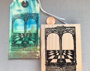 Collage Archway and Stage Rubber Stamp