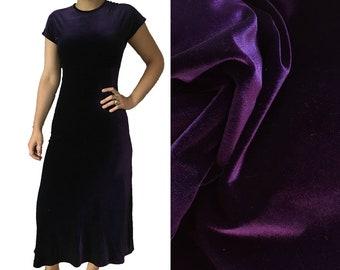 purple velvet long maxi evening gown dress short sleeve size 4 small