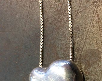 """Puff heart pendant on fine 18"""" chain, sterling silver"""