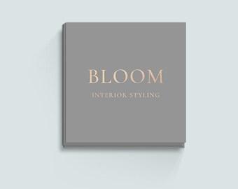 Grey Business Card Design, Gold Foil, Square Business Card Template, Calling Card, Premade Business Card, Elegant, Classy, Beautiful