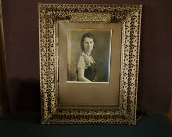 Photo frame with light built in gold filigree vintage