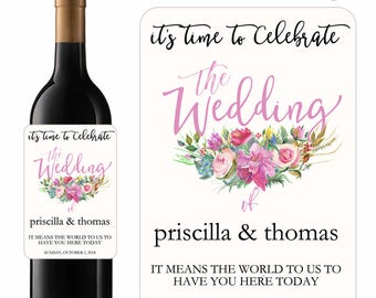 Wedding Wine Labels Its Time To Celebrate The Wedding Of With Colorful Spring Floral Bouquet Designer Labels Waterproof Vinyl