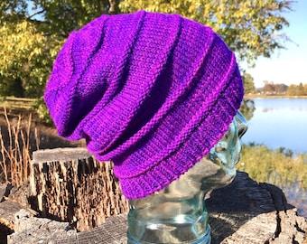 Purple Wool Slouchy Knit Hat