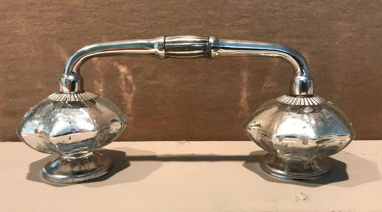 Silver Mercury Glass Cabinet, Door, Drawer Handle - 4 Spread