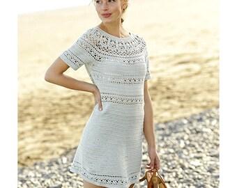 Women's Dress Engagement Dress Crochet Lacy Dress Short Sleeve Cotton Dress Summer Dress Plus Size Dress Handmade Dress Lacy Dress Beachwear