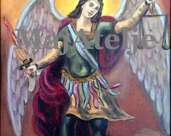 Archangel Michael, Orthodox  icon, Handpainted, Oil on canvas, Art for digital download, Printable