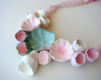 Pink and Green Statement Necklace, Paper flowers necklace, Paper Jewelry, Fabric Necklace, Textile Jewelry, No metal, Boho, Hippie, Natural