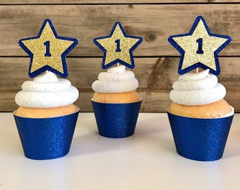 12 Blue and Gold Star Cupcake Toppers, Blue Cupcake Topper, 1st Birthday Cupcake Topper, Twinkle Twinkle Little Star, Gold Cupcake Topper