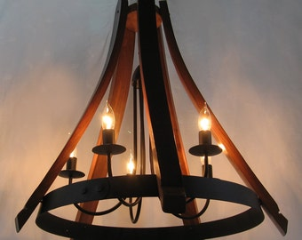 Cervantes wine barrel Chandelier recycled oak staves and hoop pendant light, ceiling lamp