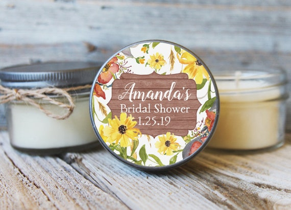 12 - 4 oz Bridal Shower Favor//Sunflower Rustic Favor//Fall Wedding Favor//Fall Bridal Shower Favor//Shower Favor//Candle Favors//