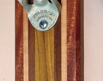 Wall Mounted Bottle Opener with Magnetic Cap Catcher in Reclaimed Mahogany, Maple, Walnut, and Green Poplar