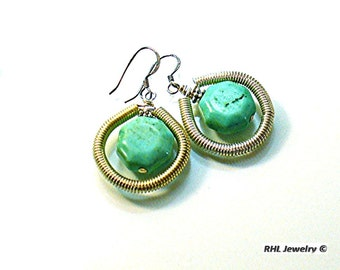 Turquoise Earrings, Stone Earrings, Aqua Earrings, Geometric Turquoise Earrings - E2010-34